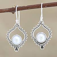 Cultured pearl dangle earrings, 'Blissful Night in White' - Cultured Pearl and Sterling Silver Dangle Earrings