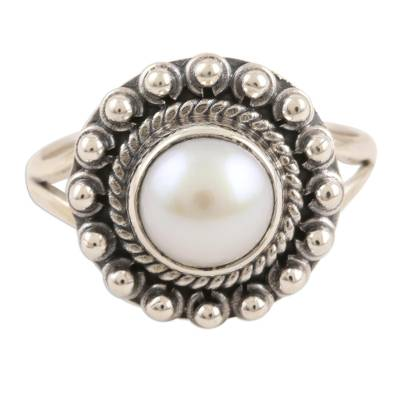 Cultured pearl cocktail ring, 'White Day' - Cultured Pearl and Sterling Silver Cocktail Ring