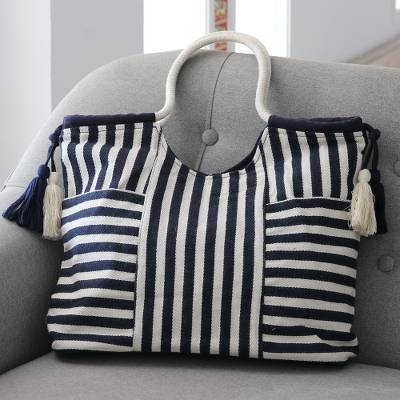 Cotton handle bag, 'Bold Stripes' - Striped Cotton Handle Handbag