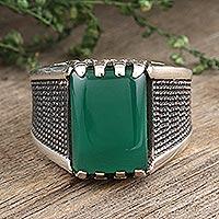 Men's onyx cocktail ring, 'Green Strength ' - Men's Green Onyx Cocktail Ring