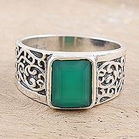 Men's onyx cocktail ring, 'Green Glisten' - Men's Green Onyx and Sterling Silver Cocktail Ring