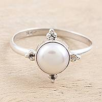 Cultured pearl single stone ring, 'Moon Delight' - Cultured Pearl and Sterling Silver Single Stone Ring