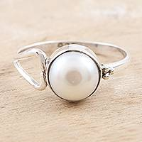 Cultured pearl single stone ring, 'Dreamy Moon' - Handmade Pearl and Sterling Silver Single Stone Ring