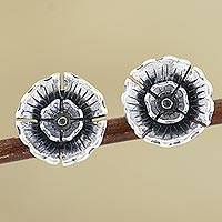 Sterling silver button earrings, 'Pretty Primrose' - Hand Made Sterling Silver Floral Button Earrings