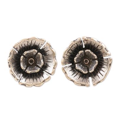 Sterling silver button earrings, 'Pretty Primrose' - Hand Made Sterling Silver Floral Button Earrings