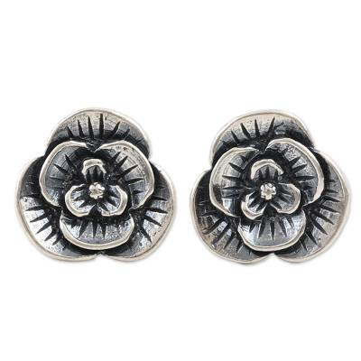 Sterling silver button earrings, 'Spring Hope' - Artisan Made Sterling Silver Floral Button Earrings