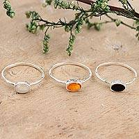 Gemstone single stone rings, 'Underground Rumor' (set of 3) - Rainbow Moonstone and Onyx Single Stone Rings (Set of 3)