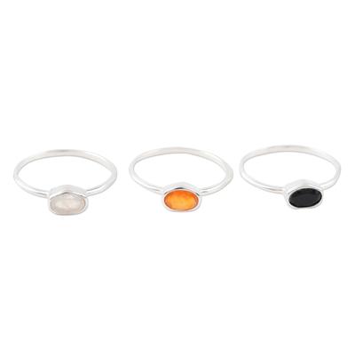 Gemstone single stone rings, 'Underground Rumor' (set of 3) - Rainbow Moonstone and Onyx Single Stone Rings (Set of 3)