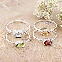 Gemstone single stone rings, 'Four Corners' (set of 4) - Peridot and Garnet Single Stone Rings (Set of 4)
