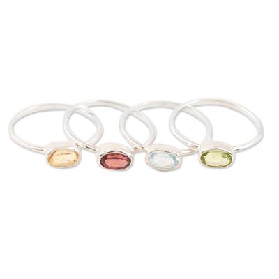 Gemstone single stone rings, 'Four Corners' (set of 4) - Peridot and Garnet Single Stone Rings (Set of 4)
