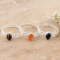 Gemstone single stone rings, 'Triple Crown' (set of 3) - Tiger's Eye and Carnelian Single Stone Rings (Set of 3)