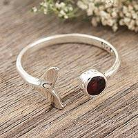 Garnet wrap ring, 'Mermaid Tail' - Garnet and Sterling Silver Mermaid Tale Ring
