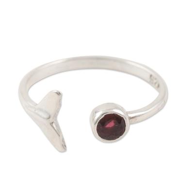 Garnet wrap ring, 'Mermaid Tail' - Garnet and Sterling Silver Mermaid Tale Ring