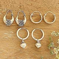 Sterling silver hoop earrings, 'Dancing Barefoot' (set of 3) - Handmade Sterling Silver Hoop Earrings