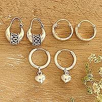 Sterling silver hoop earrings, 'Dancing Barefoot' (set of 3)