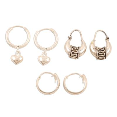 Sterling silver hoop earrings, 'Dancing Barefoot' (set of 3) - Handmade Sterling Silver Hoop Earrings