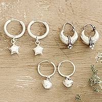 Sterling silver hoop earrings, 'Heart and Star' (set of 3)