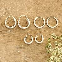 Sterling silver hoop earrings, 'Lustrous Loops' (set of 3) - Artisan Crafted Sterling Silver Hoop Earrings (Set of 3)