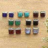 Gemstone stud earrings, 'Black Magic' (set of 7) - Hand Crafted Square Stud Earrings (Set of 7)