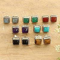 Gemstone stud earrings, 'Color Magic' (set of 7) - Hand Made Square Stud Earrings (Set of 7)