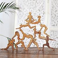 Teak wood puzzle, 'Yoga Tower'