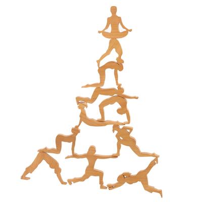 Teak wood puzzle, 'Yoga Tower' - Yoga Pose Teak Wood Puzzle