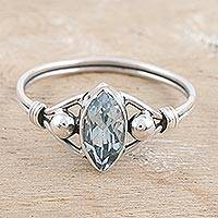 Blue topaz cocktail ring, 'Baroness in Blue' - Blue Topaz and Sterling Silver Cocktail Ring