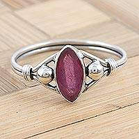 Ruby cocktail ring, 'Baroness in Ruby' - Ruby and Sterling Silver Cocktail Ring