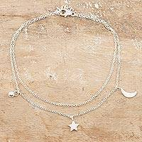 Sterling silver anklet, 'Celestial Union' - Sterling Silver Celestial Anklet