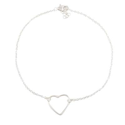 Sterling silver anklet, 'Intimate Heart' - Hand Made Sterling Silver Heart Anklet