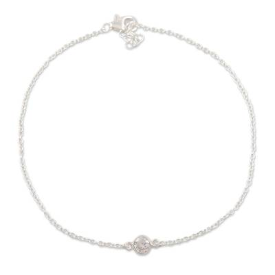 Cubic zirconia anklet, 'Moon Sparkle' - Cubic Zirconia and Sterling Silver Anklet