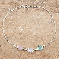 Multi-gemstone anklet, 'Underwater Trio' - Chalcedony and Rose Quartz Anklet