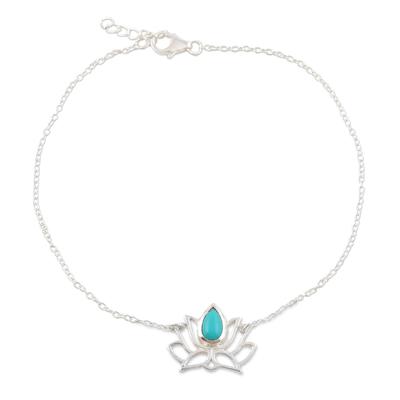 Sterling silver anklet, 'Lotus Dancer' - Sterling Silver Lotus Flower Anklet