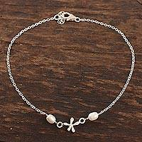 Cultured pearl anklet, 'Dragonfly Over Water' - Cultured Pearl and Sterling Silver Anklet