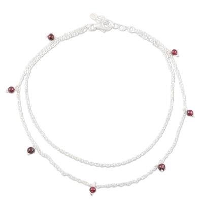 Garnet anklet, 'Dancing Berries' - Garnet and Sterling Silver Anklet