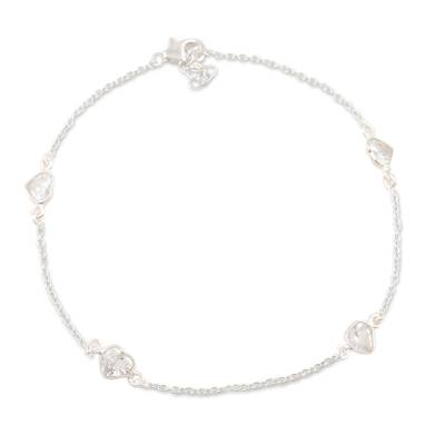 Cubic zirconia anklet, 'Clear Hearts' - Cubic Zirconia and Sterling Silver Anklet