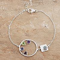 Multi-gem bracelet, 'Cool Shimmer' - Peridot and Amethyst Multi-Gem Bracelet