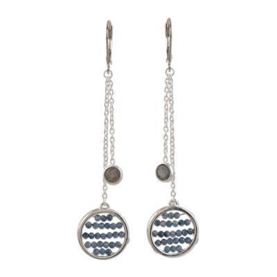 Labradorite dangle earrings, 'Late Night' - Labradorite and Sterling Silver Dangle Earrings