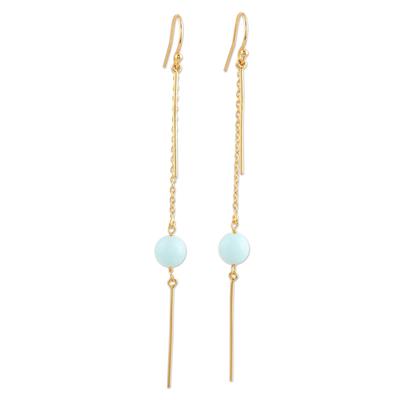 Gold-plated chalcedony dangle earrings, 'Golden Rain' - Gold-Plated Chalcedony Dangle Earrings