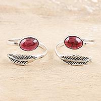 Garnet toe rings, 'Late Autumn' (pair) - Garnet and Sterling Silver Toe Rings (Pair)