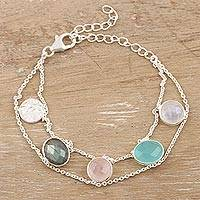 Multi-gemstone charm bracelet, 'Seaside Town' - Rainbow Moonstone and Rose Quartz Charm Bracelet