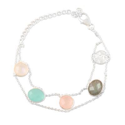 Multi-gemstone charm bracelet, 'Seaside Town' - Rainbow Moonstone and Rose Quartz Charm Bracelet