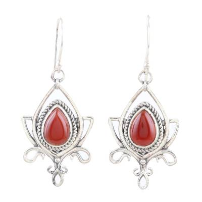Onyx dangle earrings, 'Sunset Lotus' - Sterling Silver and Red Onyx Dangle Earrings