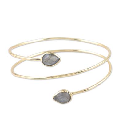 Gold-plated labradorite cuff bracelet, 'Golden Drop' - Gold-Plated Sterling Silver and Labradorite Cuff Bracelet