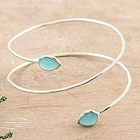 Chalcedony cuff bracelet, 'Aqua Drop' - Chalcedony and Sterling Silver Cuff Bracelet