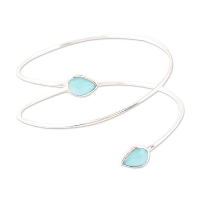 Chalcedony cuff bracelet, 'Aqua Drop' - Chalcedony and Sterling Silver Cuff Bracelet
