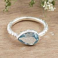 Blue topaz single stone ring, 'Tropical Waters' - Sterling Silver and Blue Topaz Single Stone Ring