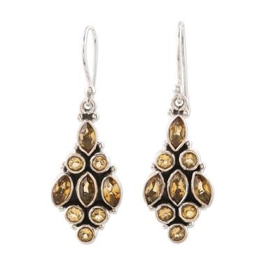 Citrine dangle earrings, 'Golden Tower' - Handmade Sterling Silver and Citrine Dangle Earrings