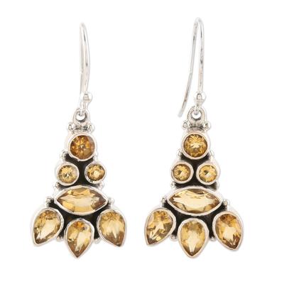 Citrine dangle earrings, 'Sparkling Tower' - Hand Crafted Sterling Silver and Citrine Dangle Earrings