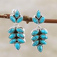 Sterling silver dangle earrings, 'Cascading Leaves' - Sterling Silver Leaf Motif Dangle Earrings